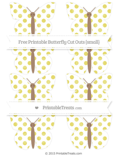 Free Straw Yellow Dotted Pattern Small Butterfly Cut Outs