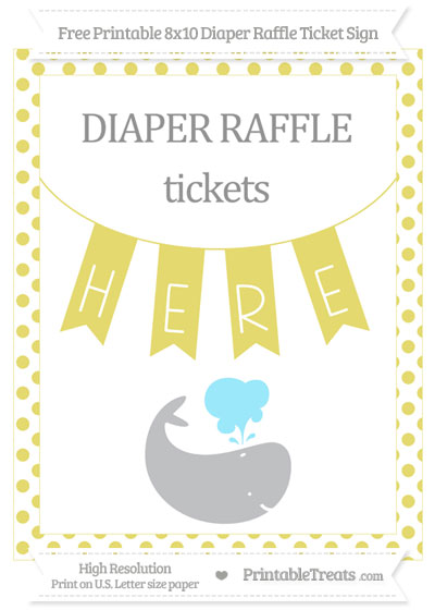 Free Straw Yellow Dotted Whale 8x10 Diaper Raffle Ticket Sign