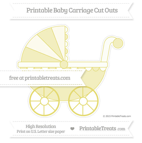 Free Straw Yellow Extra Large Baby Carriage Cut Outs