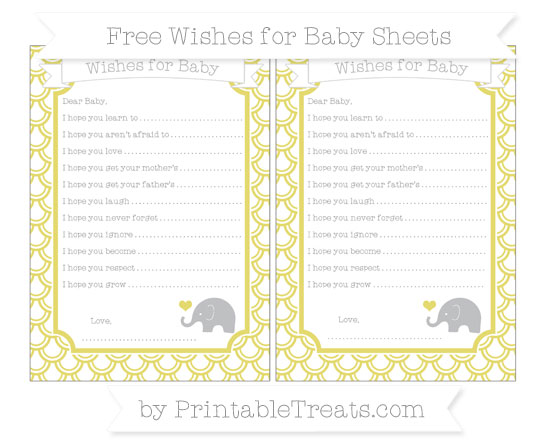 Free Straw Yellow Fish Scale Pattern Baby Elephant Wishes for Baby Sheets