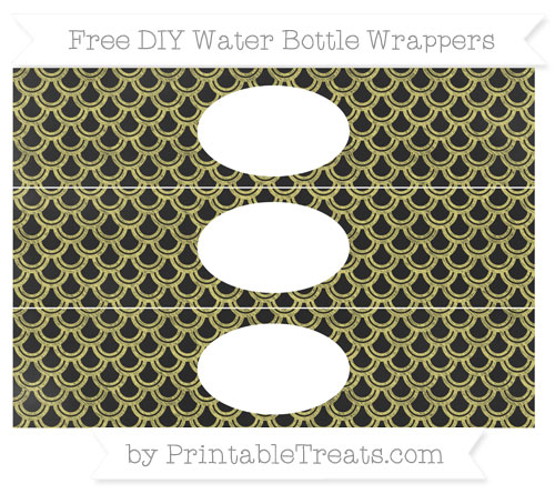 Free Straw Yellow Fish Scale Pattern Chalk Style DIY Water Bottle Wrappers