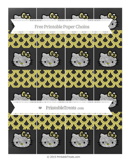 Free Straw Yellow Fish Scale Pattern Chalk Style Hello Kitty Paper Chains