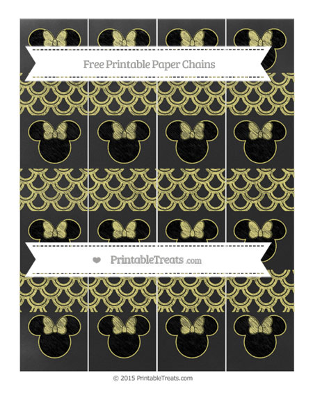 Free Straw Yellow Fish Scale Pattern Chalk Style Minnie Mouse Paper Chains