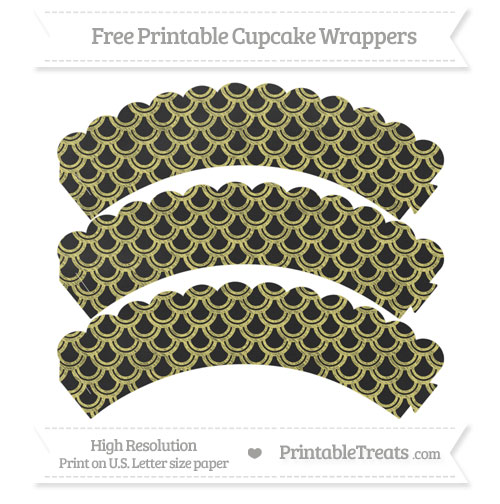 Free Straw Yellow Fish Scale Pattern Chalk Style Scalloped Cupcake Wrappers