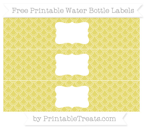 Free Straw Yellow Fish Scale Pattern Water Bottle Labels