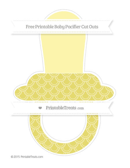 Free Straw Yellow Fish Scale Pattern Extra Large Baby Pacifier Cut Outs