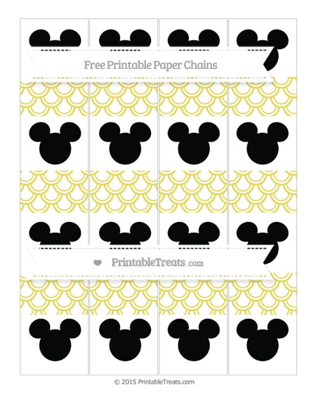 Free Straw Yellow Fish Scale Pattern Mickey Mouse Paper Chains