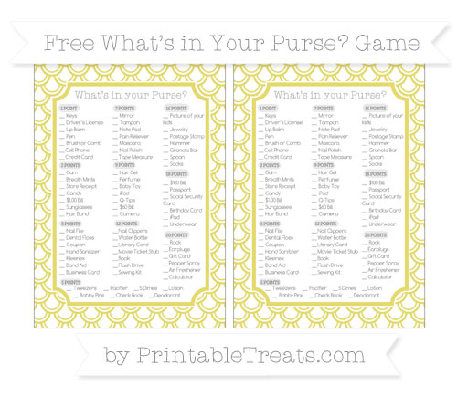 Free Straw Yellow Fish Scale Pattern What's in Your Purse Baby Shower Game