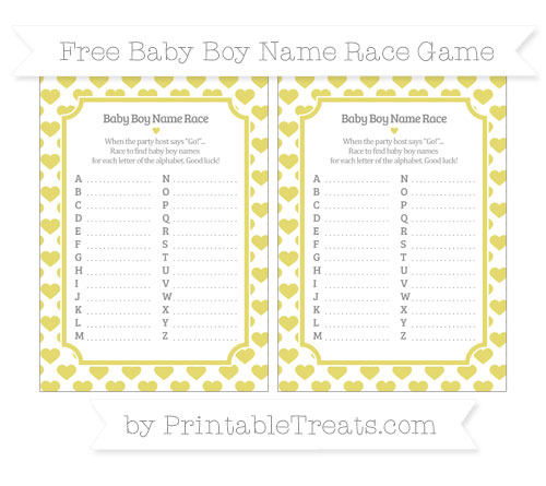 Free Straw Yellow Heart Pattern Baby Boy Name Race Game