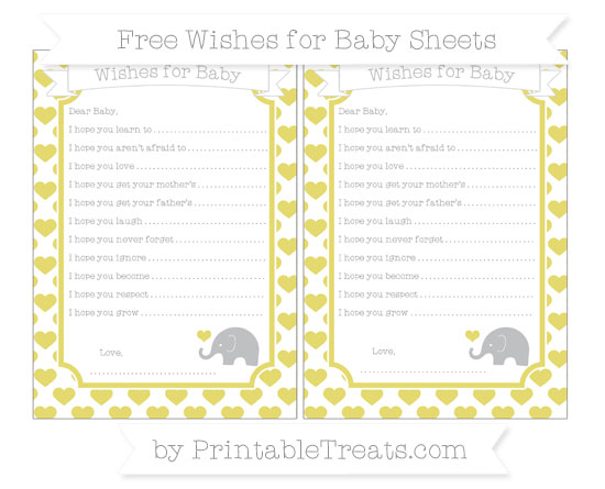 Free Straw Yellow Heart Pattern Baby Elephant Wishes for Baby Sheets