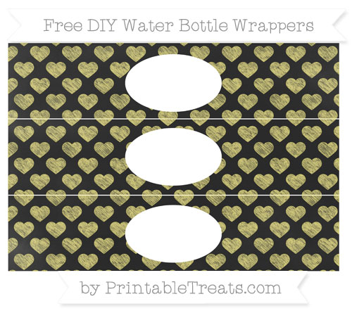 Free Straw Yellow Heart Pattern Chalk Style DIY Water Bottle Wrappers