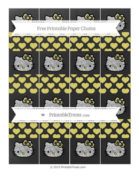 Free Straw Yellow Heart Pattern Chalk Style Hello Kitty Paper Chains