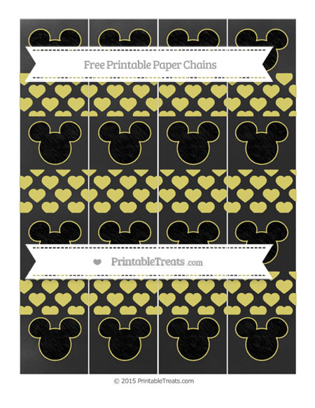 Free Straw Yellow Heart Pattern Chalk Style Mickey Mouse Paper Chains