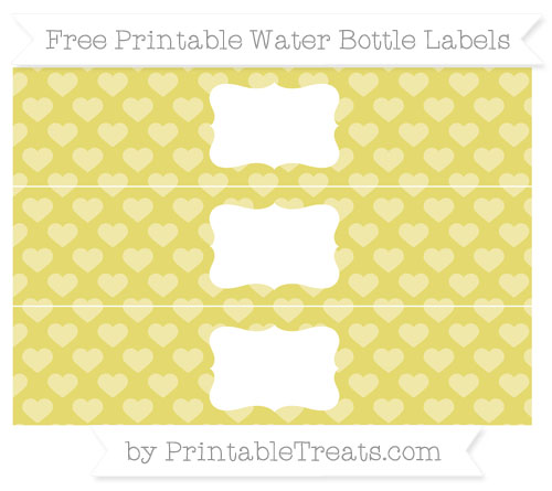 Free Straw Yellow Heart Pattern Water Bottle Labels