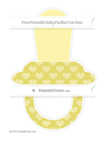 Free Straw Yellow Heart Pattern Extra Large Baby Pacifier Cut Outs