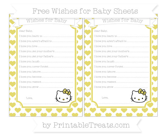 Free Straw Yellow Heart Pattern Hello Kitty Wishes for Baby Sheets