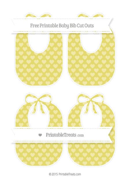 Free Straw Yellow Heart Pattern Medium Baby Bib Cut Outs