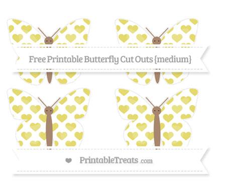 Free Straw Yellow Heart Pattern Medium Butterfly Cut Outs