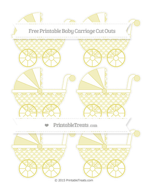 Free Straw Yellow Heart Pattern Small Baby Carriage Cut Outs