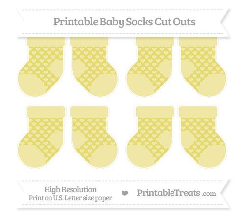Free Straw Yellow Heart Pattern Small Baby Socks Cut Outs