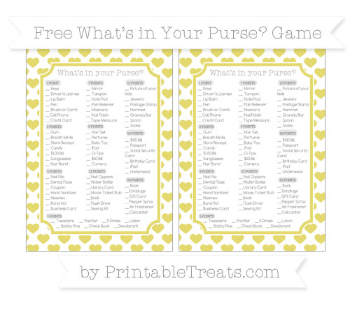 Free Straw Yellow Heart Pattern What's in Your Purse Baby Shower Game