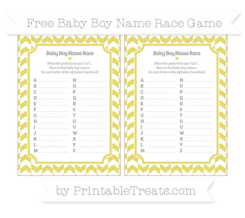 Free Straw Yellow Herringbone Pattern Baby Boy Name Race Game
