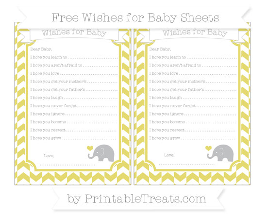 Free Straw Yellow Herringbone Pattern Baby Elephant Wishes for Baby Sheets