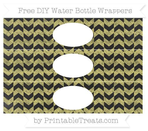 Free Straw Yellow Herringbone Pattern Chalk Style DIY Water Bottle Wrappers