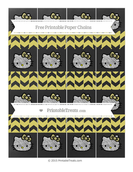 Free Straw Yellow Herringbone Pattern Chalk Style Hello Kitty Paper Chains