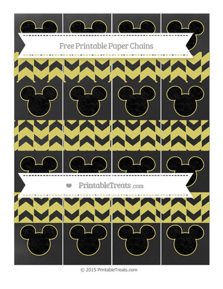 Free Straw Yellow Herringbone Pattern Chalk Style Mickey Mouse Paper Chains