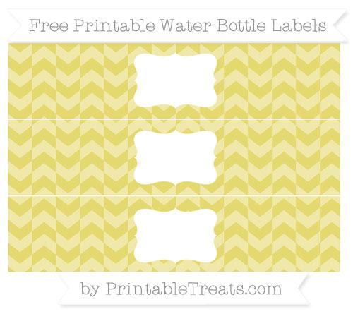 Free Straw Yellow Herringbone Pattern Water Bottle Labels