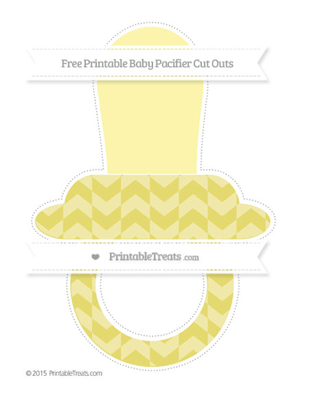 Free Straw Yellow Herringbone Pattern Extra Large Baby Pacifier Cut Outs