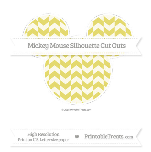 Free Straw Yellow Herringbone Pattern Extra Large Mickey Mouse Silhouette Cut Outs