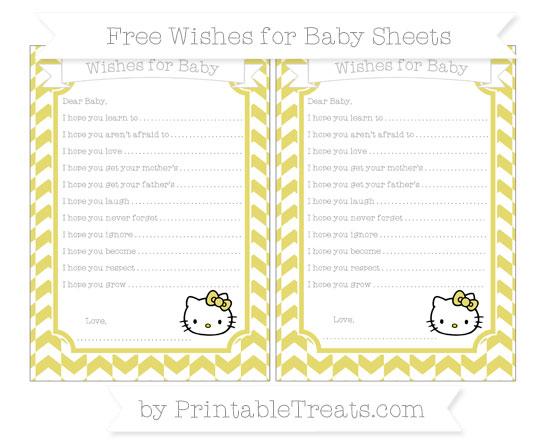 Free Straw Yellow Herringbone Pattern Hello Kitty Wishes for Baby Sheets