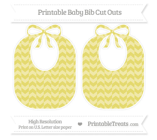 Free Straw Yellow Herringbone Pattern Large Baby Bib Cut Outs