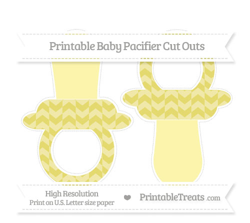 Free Straw Yellow Herringbone Pattern Large Baby Pacifier Cut Outs