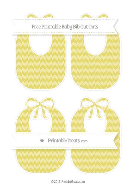 Free Straw Yellow Herringbone Pattern Medium Baby Bib Cut Outs