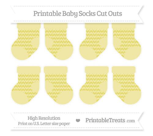 Free Straw Yellow Herringbone Pattern Small Baby Socks Cut Outs