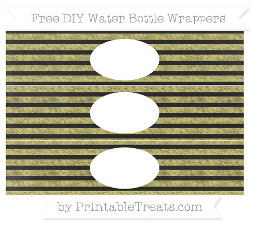 Free Straw Yellow Horizontal Striped Chalk Style DIY Water Bottle Wrappers