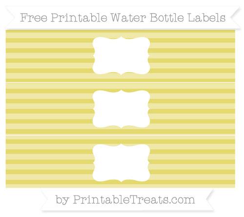 Free Straw Yellow Horizontal Striped Water Bottle Labels