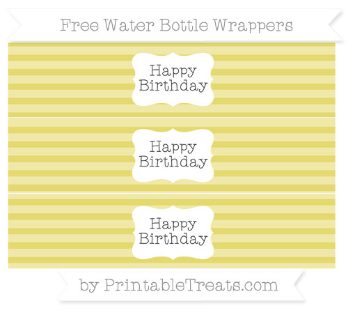 Free Straw Yellow Horizontal Striped Happy Birhtday Water Bottle Wrappers