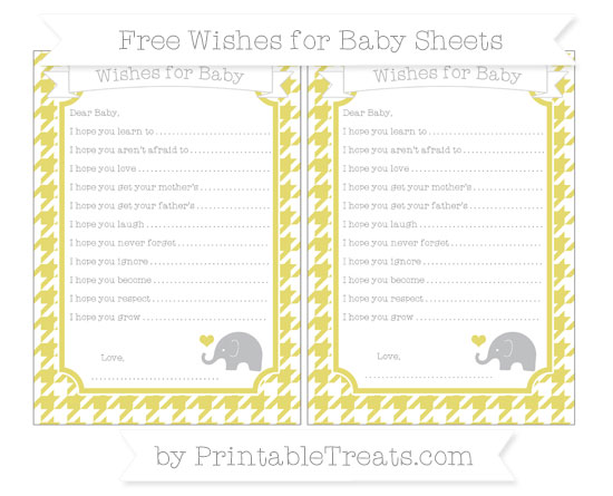 Free Straw Yellow Houndstooth Pattern Baby Elephant Wishes for Baby Sheets