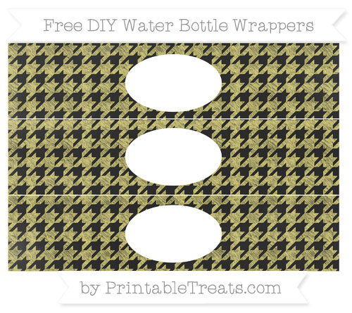 Free Straw Yellow Houndstooth Pattern Chalk Style DIY Water Bottle Wrappers