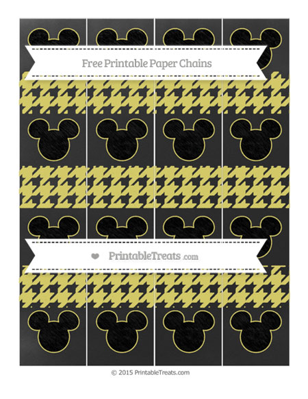 Free Straw Yellow Houndstooth Pattern Chalk Style Mickey Mouse Paper Chains