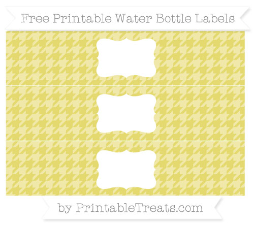 Free Straw Yellow Houndstooth Pattern Water Bottle Labels