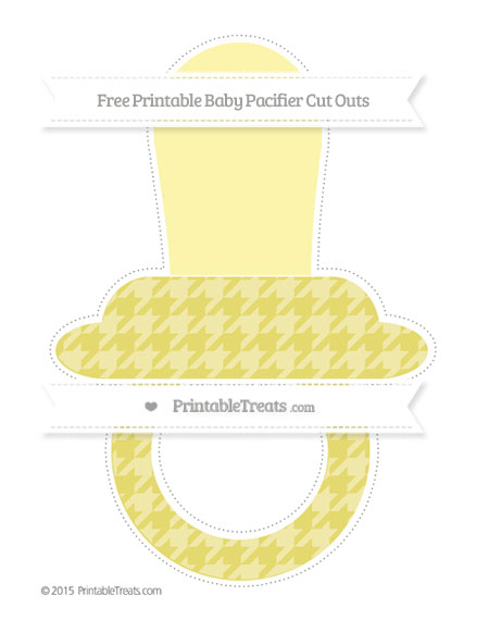 Free Straw Yellow Houndstooth Pattern Extra Large Baby Pacifier Cut Outs