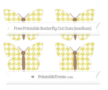 Free Straw Yellow Houndstooth Pattern Medium Butterfly Cut Outs
