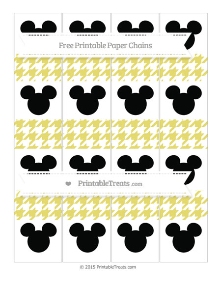 Free Straw Yellow Houndstooth Pattern Mickey Mouse Paper Chains