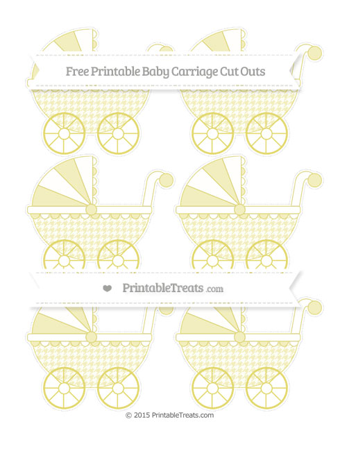 Free Straw Yellow Houndstooth Pattern Small Baby Carriage Cut Outs