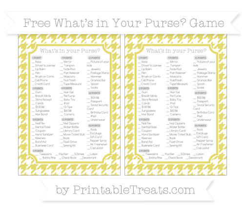 Free Straw Yellow Houndstooth Pattern What's in Your Purse Baby Shower Game